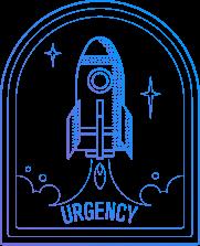 Rocket ship symbolizing urgency